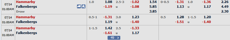 Hammarby vs Falkenbergs arenascore